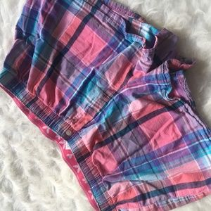 Old Navy Juniors Pink Plaid Pajama Shorts